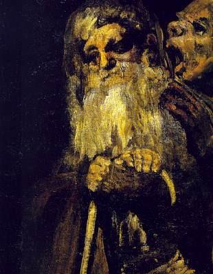 איש זקן חרש (פרט עליון) - שמן על טיח (הועבר לקנווס) 144 x 66 cm, 1821-3
