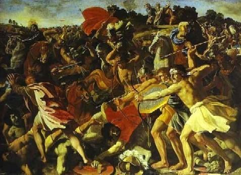 ניקולס פוסיני (1625) יהושע נלחם בעמלק. מיהו עמלקי?