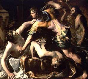 אורסטס רוצח את אימו. ציור מאת ברנרדינו (1654)