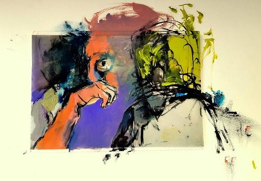 מתוך התערוכה: between you and me,  שמן על נייר, 30/40, 2018