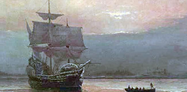 מייפלאוור בנמל פליימות - ציור ויליאם האלסל 1882