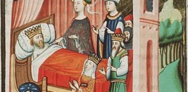 אבישג לצד מיטת דוד, ועימה בת שבע, נתן הנביא ושלמה, איור מהאג משנת 1435 לערך.