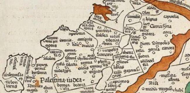 פלשתינה-יהודה. מפה של תלמי. 1482