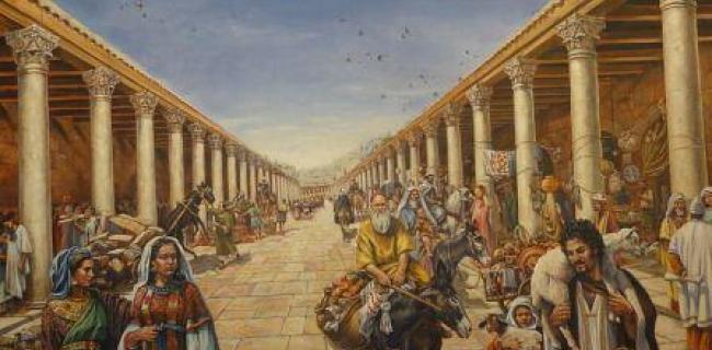 ציור המשחזר את הקארדו בירושלים בתקופה הרומית