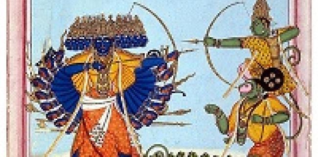 ראמה (מימין) יָשוּב על כתפי הַנוּמָן, נלחם במלך-השדים רבאנה, סצנה מתוך הרמאיאנה.