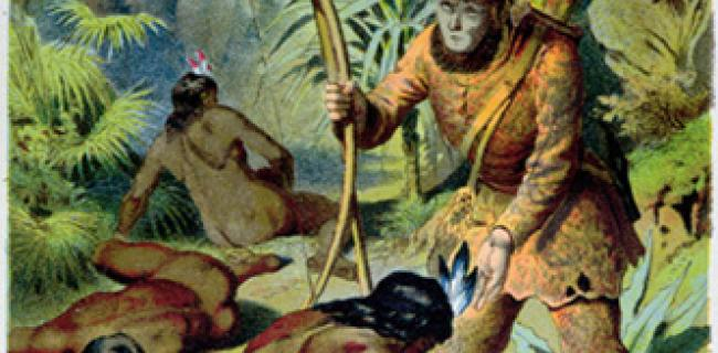 רובינזון קרוזו, ועוזרו ששת. איור מתוך הספר המקורי.