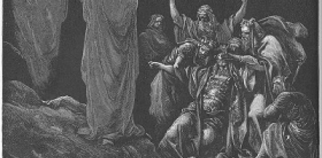 בעלת האוב מעלה את שמואל הנביא באוב, לבקשת שאול המלך, בעין דור. תחריט מעשה ידי גוסטב דורה משנת 1866.