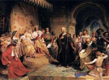 כריסטופר קולומבוס לפני המלך פרדיננד והמלכה איזבלה