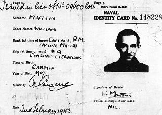 תעודת הקצין המזויפת על שם מייג'ור ויליאם מרטין
