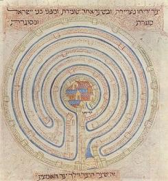 """העיר יריחו מוקפת מבוך של שבע חומות, איור מתוך תנ""""ך פרחי, נוצר במאה ה 14 בפרובנס על ידי אלישע בן אברהם קרשקש"""