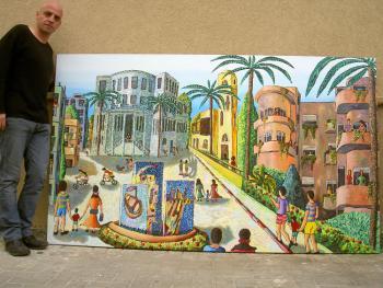 רפי פרץ צייר, תל-אביבי מציג בתערוכה סדרת ציורי נופים אורבאניים  1