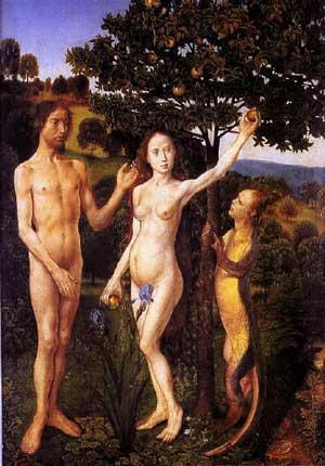 אדם, חווה והנחש. המדרש יודע לספר, שקודם לחטא היו לנחש רגליים, פה ואוזניים והוא הלך ודיבר כאחד האדם. ציור מאת הוגו ואן דר גוס. 1470.