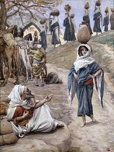 רבקה ניגשת להשקות את אליעזר, ג'יימס טיסו, סוף המאה ה-19