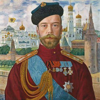 פורטרט של הצאר ניקולאי השני על רקע הקרמלין