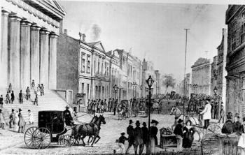 וול סטריט, 1867. משמאל - בניין הבורסה