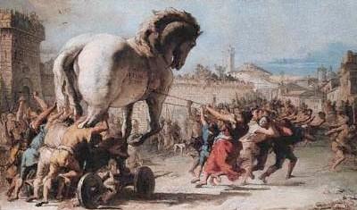 'תהליך הכנסת הסוס לתוך טרויה', ג'ובני טיפולו, 1760.