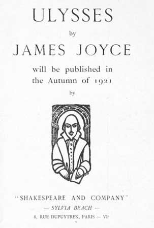 הודעה על פרסום יוליסס מאת ג'יימס ג'ויס.