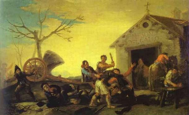 קטטה בפונדק התרנגול – שמן על קנווס 41.9 x 67.3 cm , 1777