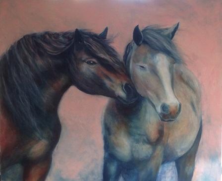 מיכל אשל, אחוות סוסים, שמן על קנבס, 120X80