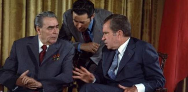 לאוניד ברזנייב וריצארד ניקסון בפגישת פיסגה בוושינגטון, יוני 1973