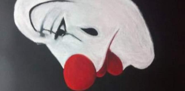 """ליצן. ציור: מירב גולן (פסטל על נייר, 70X50 ס""""מ)"""