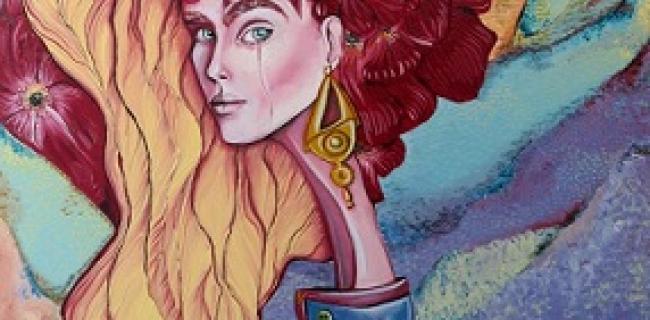 טניה מיסיחייב / אישה -חיה, אקריליק על בד, מטר על שניים. קרדיט: סדן הפקת אמנות