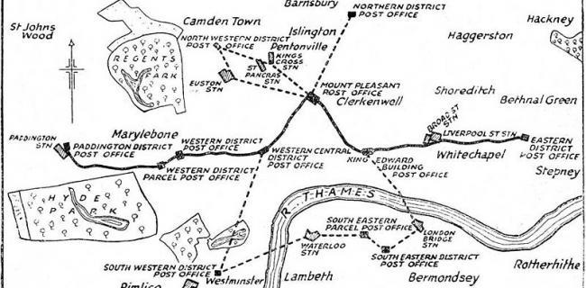 לונדון: מפה רכבת הדואר המלכותי