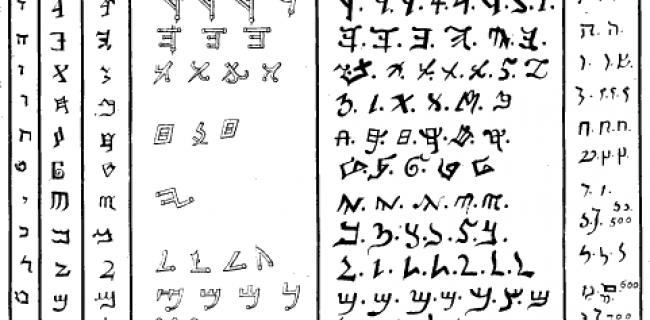 תרשים של הכתב הפיניקי והשומרוני בספר לטיני משנת 1709
