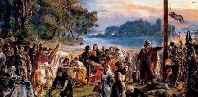 ציור של יאן מטייקו. פולין מקבלת את הנצרות.