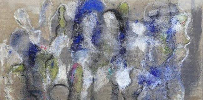 רקדנים בכחול 50X50 סמ, טכניקה מעורבת