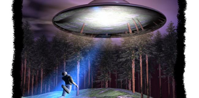 איור שמדמה חטיפת אדם בידי חללית מכוכב אחר.