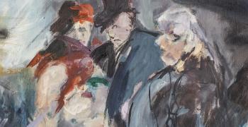 """מתוך התערוכה, רחל אלקלעי / בית זונות, שמן על בד 100X120ס""""מ, קרדיט: סדן הפקת אמנות"""