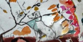 מיכל אורגיל, כלבלב, טכניקה מעורבת על נייר 27X30
