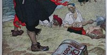 שודדי ים טומנים אוצרות בדרכם אל העושר. איור מאת Howard Pyle