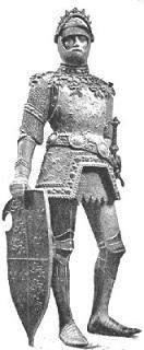 פסל שמציג את דמותו של המלך ארתור בשריון מימי הביניים