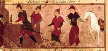 ג'ינגיס חאן ושלושה מארבעת בניו. ציור פרסי מהמאה ה-14
