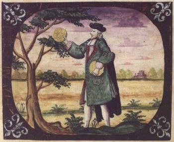 """יהודי מחזיק מצות, ציור של פיליפס אייזיק לוי מתוך """"הגדת קופנהגן"""", 1739"""